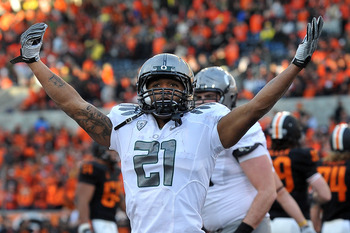 CORVALLIS, OR - DECEMBER 4: LaMichael James #21 of the Oregon Ducks celebrates a touchdown in the fourth quarter of the game at Reser Stadium on December 4, 2010 in Corvallis, Oregon. The Ducks beat the Beavers 37-20 to likely go on to the BCS Championshi