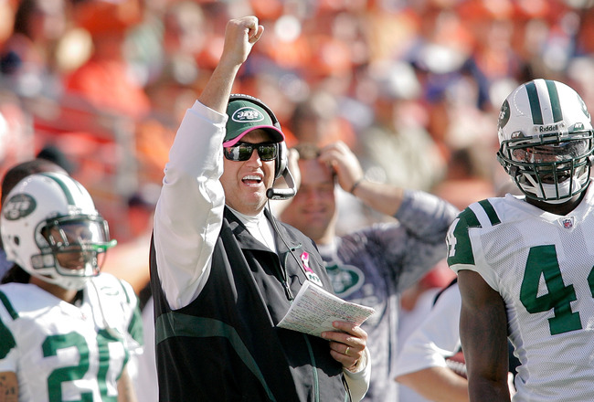 DENVER - OCTOBER 17:  Head coach Rex Ryan the New York Jets celebrates a penalty call against the Denver Broncos at INVESCO Field at Mile High on October 17, 2010 in Denver, Colorado.  (Photo by Justin Edmonds/Getty Images)