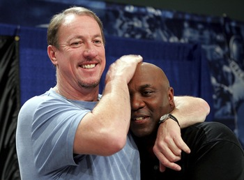 MIAMI - FEBRUARY 03:  (L-R) Former player Jim Kelly congratulates former teammate Hall of Fame inductee Thurman Thomas formerly of the Buffalo Bills during the Super Bowl XLI Pro Football Hall of Fame Press Conference at the Miami Convention Center on Feb