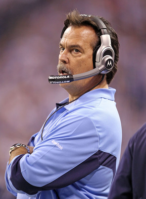 INDIANAPOLIS - JANUARY 02: Jeff Fisher the Head Coach of the Tennessee Titans watches play during NFL game against the Indianapolis Colts at Lucas Oil Stadium on January 2, 2011 in Indianapolis, Indiana.  (Photo by Andy Lyons/Getty Images)