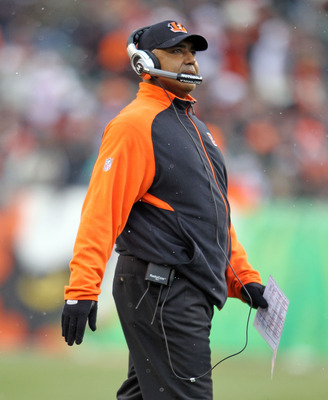 CINCINNATI - DECEMBER 26: Marvin Lewis the Head Coach of the Cincinnati Bengals watches play during the NFL game against the San Diego Chargers at Paul Brown Stadium on December 26, 2010 in Cincinnati, Ohio. The Bengals 34-20.  (Photo by Andy Lyons/Getty