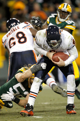GREEN BAY, WI - JANUARY 02:  Quarterback Jay Cutler #6 of the Chicago Bears is sacked by Clay Matthews #52 of the Green Bay Packers at Lambeau Field on January 2, 2011 in Green Bay, Wisconsin.  (Photo by Matthew Stockman/Getty Images)