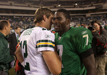 Rodgers and Vick, pictured here, will get to face off again this weekend