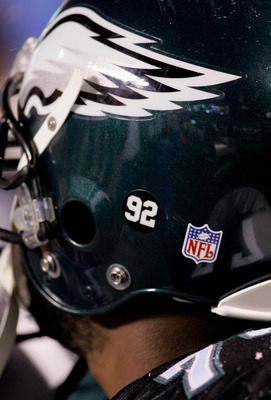 PHILADELPHIA - DECEMBER 05:  A sticker is shown on the helmet of Artis Hicks #77 of the Philadelphia Eagles in support of former teammate Reggie White #92 during the game against the Seattle Seahawks on December 5, 2005 at Lincoln Financial Field in Phila