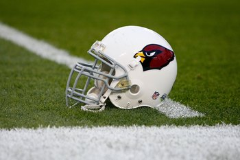 TAMPA, FL - FEBRUARY 01:  The Arizona Cardinals helmet is seen on the field before Super Bowl XLIII on February 1, 2009 at Raymond James Stadium in Tampa, Florida.  (Photo by Streeter Lecka/Getty Images)