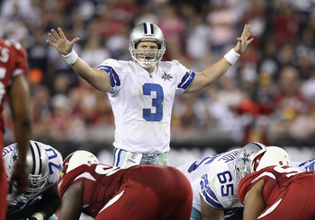 GLENDALE, AZ - DECEMBER 25:  Quarterback Jon Kitna #3 of the Dallas Cowboys prepares to snap the ball during the NFL game against the Arizona Cardinals at the University of Phoenix Stadium on December 25, 2010 in Glendale, Arizona.  The Cardinals defeated