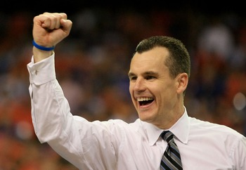 ATLANTA - APRIL 02:  Head coach Billy Donovan of the Florida Gators celebrates after his team defeated the Ohio State Buckeyes during the NCAA Men's Basketball Championship game at the Georgia Dome on April 2, 2007 in Atlanta, Georgia.  (Photo by Streeter
