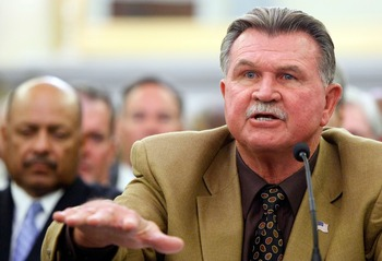 WASHINGTON - SEPTEMBER 18:  Former NFL player and coach Mike Ditka speaks during a hearing of the Senate Commerce, Science and Transportation Committee on Capitol Hill September 18, 2007 in Washington, DC. Former players and league officials appeared befo