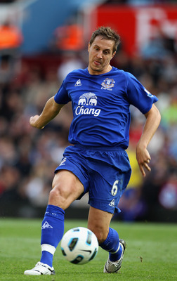 BIRMINGHAM, ENGLAND - AUGUST 29:  Phil Jagielka of Everton during the Barclays Premier League match between Aston Villa and Everton at Villa Park on August 29, 2010 in Birmingham, England.  (Photo by Phil Cole/Getty Images)