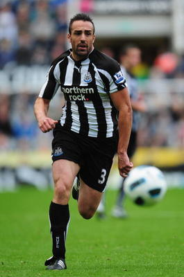 NEWCASTLE UPON TYNE, ENGLAND - SEPTEMBER 26:  Sanchez Jose Enrique of Newcastle United in action during the Barclays Premier League match between Newcastle United and Stoke City at St James' Park on September 26, 2010 in Newcastle upon Tyne, England.  (Ph