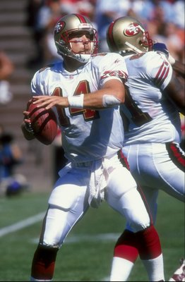 23 Aug 1998:  Quarterback John Druckenmiller #14 of the San Francisco 49ers in action during the pre-season game against the Miami Dolphins at the 3Com Park in San Francisco, California. The Dolphins defeated the 49ers 21-20.