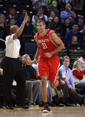 OAKLAND, CA - DECEMBER 20:  Shane Battier #31 of the Houston Rockets smiles as he runs back down the court after making a three-point basket against the Golden State Warriors at Oracle Arena on December 20, 2010 in Oakland, California. NOTE TO USER: User
