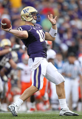 SEATTLE - SEPTEMBER 11:  Quarterback Jake Locker #10 of the Washington Huskies passes against the Syracuse Orange on September 11, 2010 at Husky Stadium in Seattle, Washington. (Photo by Otto Greule Jr/Getty Images)