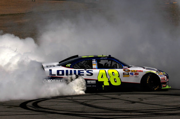 SONOMA, CA - JUNE 20:  Jimmie Johnson, driver of the #48 Lowe's Chevrolet, performs a burnout after winning the NASCAR Sprint Cup Series Toyota/Save Mart 350 at Infineon Raceway on June 20, 2010 in Sonoma, California.  (Photo by Todd Warshaw/Getty Images)
