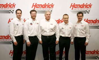 CONCORD, NC - JANUARY 20:  NASCAR team owner Rick Hendrick (C) poses with  Jimmie Johnson (1L), driver of the #48 Lowe's Chevrolet, Dale Earnhardt Jr. (2L), driver of the #88 AMP Energy/National Guard Chevrolet, Mark Martin (2R), driver of the #5 GoDaddy.