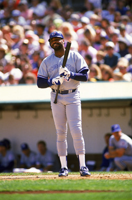 OAKLAND, CA - SEPTEMBER 1991:  Dave Parker #39 of the Toronto Blue Jays stands at the plate during a September 1991 game against the Athletics at Oakland Alameda County Stadium in Oakland, California. (Photo by Otto Greule Jr/Getty Images)