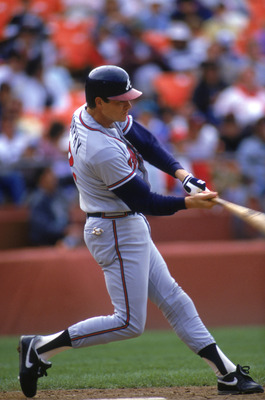 SAN FRANCISCO - 1989:  Dale Murphy #3 of the Atlanta Braves swings the bat during a game with the San Francisco Giants in 1988 at Candlestick Park in San Francisco, California.  (Photo by Otto Greule Jr/Getty Images)