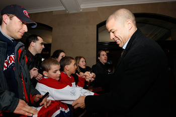 MONTREAL - JANUARY 24:  Western Conference All-Star Jarome Iginla of the Calgary Flames  arrives for the Honda NHL Superskills competition as part of the 2009 NHL All-Star weekend on January 24, 2009 at the Bell Centre in Montreal, Canada.  (Photo by Rich