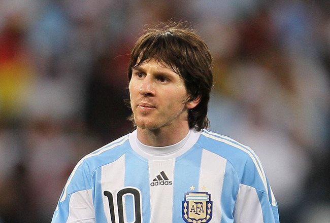 CAPE TOWN, SOUTH AFRICA - JULY 03: Lionel Messi of Argentina looks dejected during the 2010 FIFA World Cup South Africa Quarter Final match between Argentina and Germany at Green Point Stadium on July 3, 2010 in Cape Town, South Africa.  (Photo by Chris M