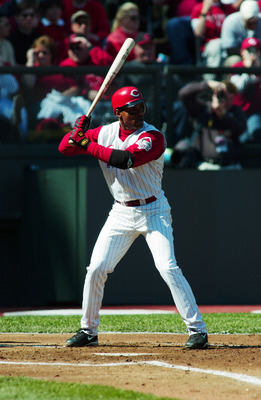 1 Apr 2002: Barry Larkin #11 of the Cincinnati Reds at bat against the Chicago Cubs during Opening Day at Cinergy field in Cincinnati, Ohio. The Reds won 5-4. DIGITAL IMAGE. Mandatory Credit: Mark Lyons/Getty Images