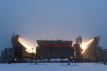 PHILADELPHIA - DECEMBER 26: A general view of Lincoln Financial Field during a blizzard on December 26, 2010 in Philadelphia, Pennsylvania. The game between the Minnesota Vikings and Philadelphia Eagles was postponed by the NFL.(Photo by Drew Hallowell/Ge