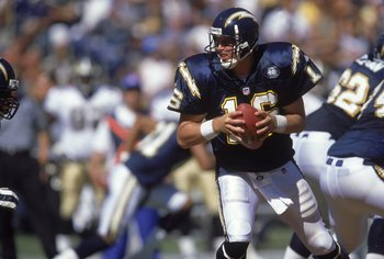 10 Sep 2000:  Ryan Leaf #16 of the San Diego Chargers looks to pass the ball during the game against the New Orleans Saints at Qualcomm Stadium in San Diego, California. The Saints defeated the Chargers 28-27.Mandatory Credit: Stephen Dunn  /Allsport
