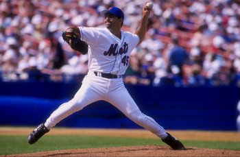 21 Jun 1998:  Pitcher John Franco #45 of the New York Mets in action during a game against the Florida Marlins at Shea Stadium in Flushing, New York. The Mets defeated the Marlins 3-2. Mandatory Credit: Al Bello  /Allsport