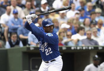 KANSAS CITY, MO - APRIL 5:  Juan Gonzalez #22 of the Kansas City Royals stands at bat during their game against the Chicago White Sox on Opening Day April 5, 2004 at Kauffman Stadium in Kansas City, Missouri.  The Royals won 9-7 after scoring six on two h