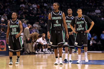 OKLAHOMA CITY - MARCH 18:  (L-R) Josh White #10, George Odufuwa #4, Jacob Holmen #30 and Tristian Thompson #14 of the North Texas Mean Green look on dejected against the Kansas State Wildcats during the first round of the 2010 NCAA men's basketball tourna