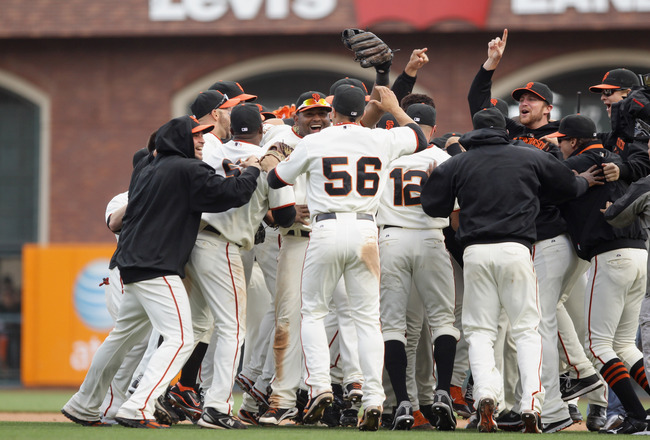 SAN FRANCISCO - OCTOBER 03:  The San Francisco Giants celebrate after they beat the San Diego Padres to win the National League West Title at AT&T Park on October 3, 2010 in San Francisco, California.  (Photo by Ezra Shaw/Getty Images)