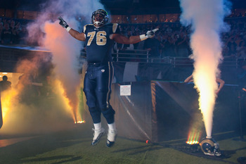 ST. LOUIS - NOVEMBER 21: Rodger Saffold #76 of the St. Louis Rams is introduced prior to playing against the Atlanta Falcons at the Edward Jones Dome on November 21, 2010 in St. Louis, Missouri.  The Falcons beat the Rams 34-17.  (Photo by Dilip Vishwanat