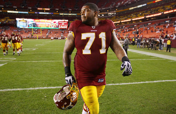 LANDOVER, MD - OCTOBER 17:  Washington Redskins first 2010 first round draft pick Trent Williams #71 walks off the field after a defeat against the Indianapolis Colts at FedEx Field on October 17, 2010 in Landover, Maryland. The Colts won the game 27-24.