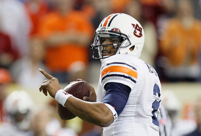ATLANTA, GA - DECEMBER 04:  Quarterback Cam Newton #2 of the Auburn Tigers looks to pass against the South Carolina Gamecocks during the 2010 SEC Championship at Georgia Dome on December 4, 2010 in Atlanta, Georgia.  (Photo by Kevin C. Cox/Getty Images)