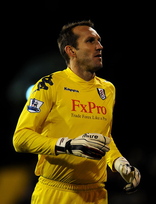 LONDON, ENGLAND - DECEMBER 11:  Mark Schwarzer of Fulham looks on during the Barclays Premier League match between Fulham and Sunderland at Craven Cottage on December 11, 2010 in London, England.  (Photo by Clive Mason/Getty Images)