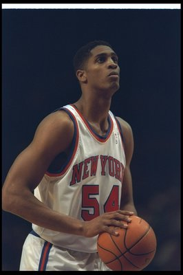 Undated:  Forward Charles Smith of the New York Knicks prepares to shoot the ball during a game against the Miami Heat at Madison Square Garden in Manhattan, New York. Mandatory Credit: Simon Bruty  /Allsport