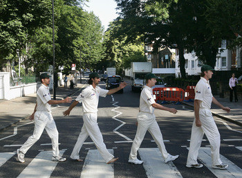 LONDON - JULY 19:  (L-R) Michael Kasrpowicz, Jason Gillespie, Brett Lee and Glenn McGrath of Australia re-enact the famous Beatles album cover at Abbey Road on July 19, 2005 in London, United Kingdom (Photo by Hamish Blair/Getty Images)