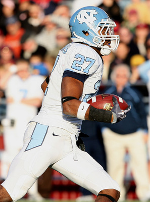 CHESTNUT HILL, MA - NOVEMBER 21:  Deunta Williams #27 of the North Carolina Tar Heels carries the ball after he intercepted a pass in the fourth quarter against the Boston College Eagles on November 21, 2009 at Alumni Stadium in Chestnut Hill, Massachuset