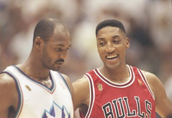 6 Jun 1997:  Forward Scottie Pippen of the Chicago Bulls chats with forward Karl Malone of the Utah Jazz during a playoff game at the Delta Center in Salt Lake City, Utah.  The Jazz won the game 104-93. Mandatory Credit: Jed Jacobsohn  /Allsport