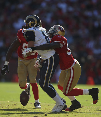SAN FRANCISCO - NOVEMBER 14:  Patrick Willis #52 of the San Francisco 49ers sacks Sam Bradford #8 of the St. Louis Rams during an NFL game at Candlestick Park on November 14, 2010 in San Francisco, California.(Photo by Jed Jacobsohn/Getty Images)