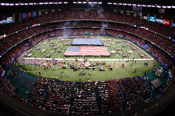 NEW ORLEANS, LA - JANUARY 04:  A general view during the national anthem before the Allstate Sugar Bowl between the Arkansas Razorbacks and the Ohio State Buckeyes at the Louisiana Superdome on January 4, 2011 in New Orleans, Louisiana.  (Photo by Chris G