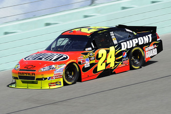 HOMESTEAD, FL - NOVEMBER 19:  Jeff Gordon, driver of the #24 DuPont Chevrolet, practices for the NASCAR Sprint Cup Series Ford 400 at Homestead-Miami Speedway on November 19, 2010 in Homestead, Florida.  (Photo by John Harrelson/Getty Images for NASCAR)