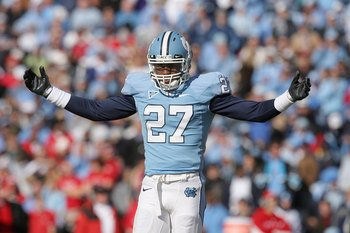 CHAPEL HILL, NC - NOVEMBER 22:  Deunta Williams #27 of the North Carolina Tar Heels celebrates on the field during the game the North Carolina State Wolfpack at Kenan Stadium on November 22, 2008 in Chapel Hill, North Carolina. (Photo by Streeter Lecka/Ge