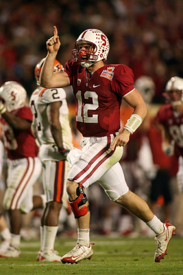 MIAMI, FL - JANUARY 03: Andrew Luck #12 of the Stanford Cardinal celebrates after he threw a 41-yard touchdown pass to Colby Fleener #82 in the third quarterback against the Virginia Tech Hokies during the 2011 Discover Orange Bowl at Sun Life Stadium on
