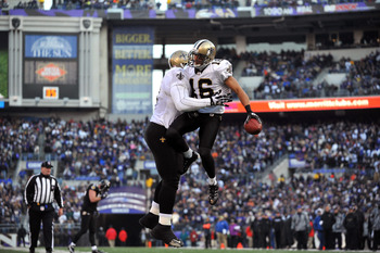 BALTIMORE, MD - DECEMBER 19:  Lance Moore #16 of the New Orleans Saints celebrates a 4th quarter touchdown during the game against the Baltimore Ravens  at M&T Bank Stadium on December 19, 2010 in Baltimore, Maryland. The Ravens defeated the Saints 30-24.