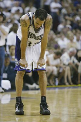 SACRAMENTO, CA - JUNE 2:  Doug Christie #13 of the Sacramento Kings pauses in Game seven of the Western Conference Finals against the Los Angeles Lakers during the 2002 NBA Playoffs at Arco Arena in Sacramento, California on June 2, 2002.  The Lakers won