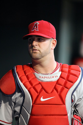 ARLINGTON, TX - JULY 23:  Mike Napoli #44 of the Los Angeles Angels of Anaheim on July 23, 2010 at Rangers Ballpark in Arlington, Texas.  (Photo by Ronald Martinez/Getty Images)