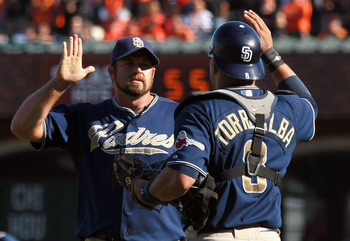 SAN FRANCISCO - OCTOBER 02:  Heath Bell #21 of the San Diego Padres is congratulated by teammate Yorvit Torrealba #8 at the end of the game against the San Francisco Giants at AT&amp;T Park on October 2, 2010 in San Francisco, California. The Padres beat the