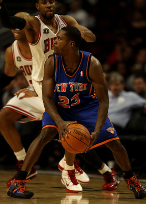 CHICAGO - NOVEMBER 04: Toney Douglas #23 of the New York Knicks, who scored a game-high 30 points, looks to pass against the Chicago Bulls at the United Center on November 4, 2010 in Chicago, Illinois. The Knicks defeated the Bulls 120-112. NOTE TO USER: