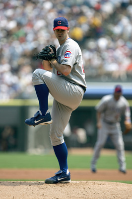CHICAGO - JUNE 26:  Mark Prior #22 of the Chicago Cubs pitches during the game with the Chicago White Sox on June 26, 2005 at U.S. Cellular Field in Chicago, Illinois. The Cubs defeated the White Sox 2-0. (Photo by Jonathan Daniel/Getty Images)
