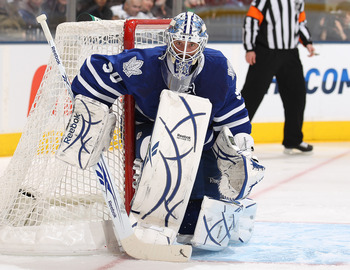 TORONTO, ON - DECEMBER 28:  Jonas Gustavsson #50 of the Toronto Maple Leafs gets set to face a shot in a game against the Carolina Hurricanes on December 28, 2010 at the Air Canada Centre in Toronto, Ontario. (Photo by Claus Andersen/Getty Images)